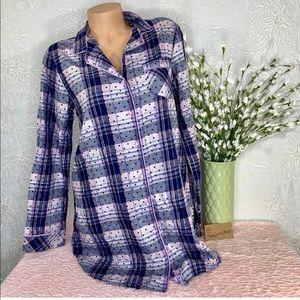 Victoria's Secret Flannel Sleep Shirt Plaid Purple